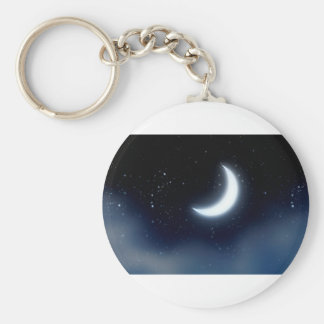 Crescent Moon over Starry Sky2 Keychain