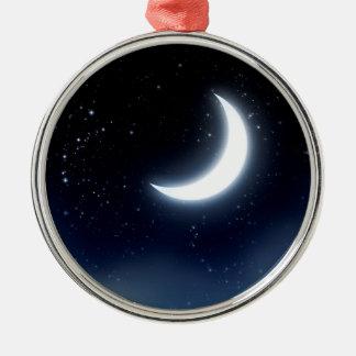 Crescent Moon over Starry Sky2 Metal Ornament