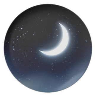 Crescent Moon over Starry Sky2 Plate