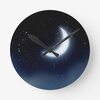Crescent Moon over Starry Sky2 Round Clock