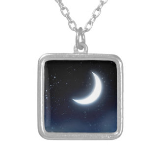 Crescent Moon over Starry Sky2 Silver Plated Necklace