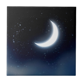 Crescent Moon over Starry Sky2 Tile