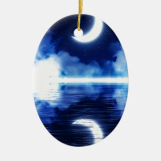 Crescent Moon over Starry Sky Ceramic Ornament