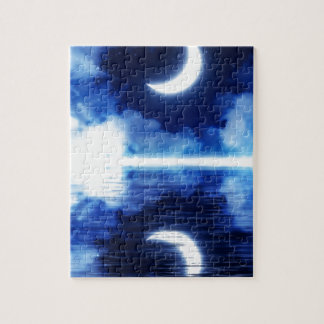 Crescent Moon over Starry Sky Jigsaw Puzzle
