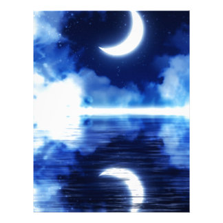 Crescent Moon over Starry Sky Letterhead