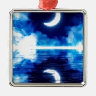 Crescent Moon over Starry Sky Metal Ornament