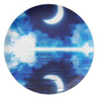 Crescent Moon over Starry Sky Plate
