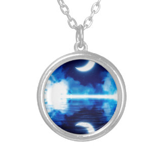Crescent Moon over Starry Sky Silver Plated Necklace