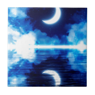 Crescent Moon over Starry Sky Tile
