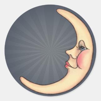 CRESCENT MOON & RAYS by SHARON SHARPE Round Sticker