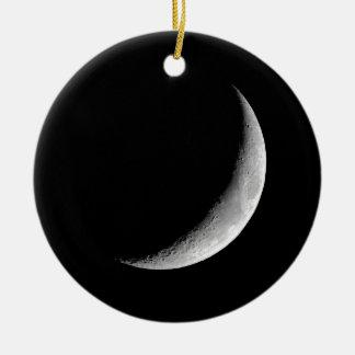 Crescent Moon Round Ceramic Ornament