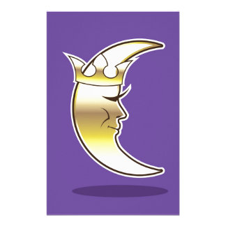 Crescent Moon with a Crown vector Personalized Stationery