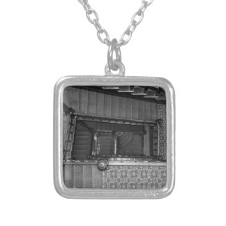 Crescent Stairwell Grayscale Silver Plated Necklace