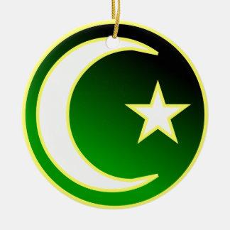 Crescent  & Star of Islam Ceramic Ornament