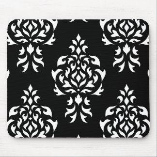 Crest Damask Pattern – White on Black Mouse Pad