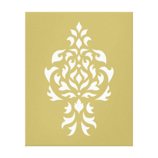 Crest Damask White on Gold Stretched Canvas Prints