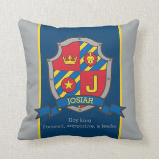 Crest name and meaning letter J Josiah boys pillow