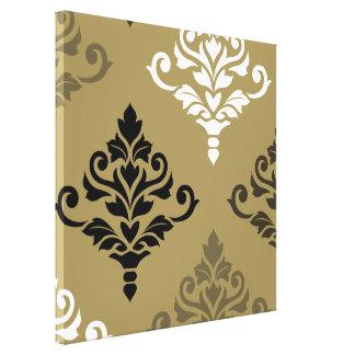 Cresta Damask Art I Black White Bronzes Gold Canvas Print