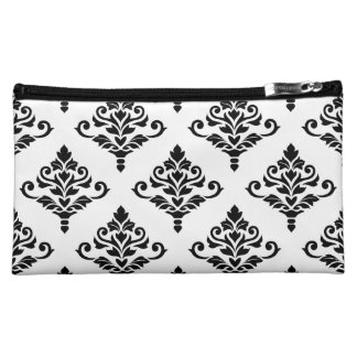 Cresta Damask (B) Big Ptn Black (no background) Makeup Bags
