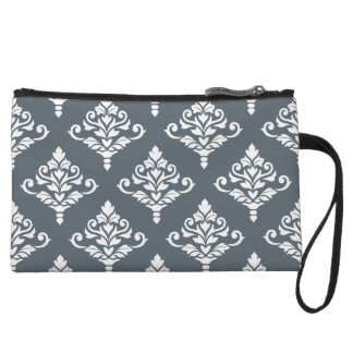 Cresta Damask (B) Big Ptn White (no background) Wristlet Purses