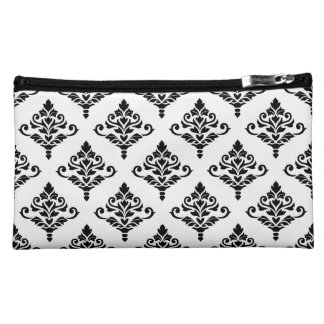 Cresta Damask (B) Ptn Black (no background) Cosmetic Bag
