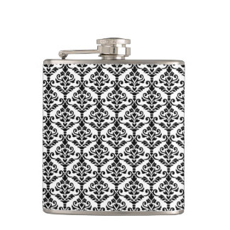 Cresta Damask Repeat Pattern Black on White Hip Flask