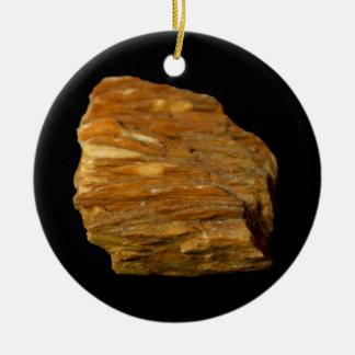 Crested Barite Mineral Photo on Black Ceramic Ornament