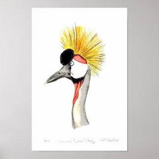 Crested Crane Poster