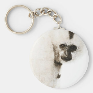 Crested Gibbon #1 Basic Round Button Keychain