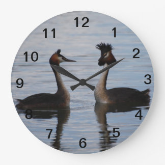 Crested Grèbe pendulum Large Clock
