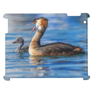 Crested grebe, podiceps cristatus, duck and baby case for the iPad 2 3 4