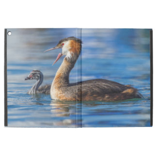 """Crested grebe, podiceps cristatus, duck and baby iPad pro 12.9"""" case"""