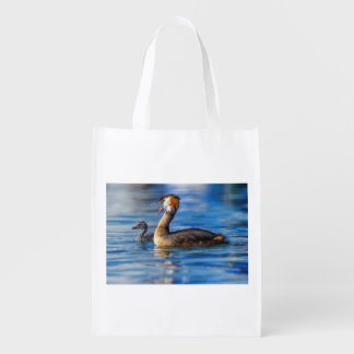 Crested grebe, podiceps cristatus, duck and baby reusable grocery bag