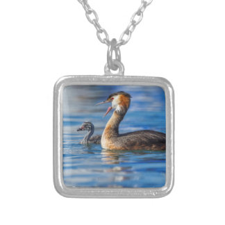 Crested grebe, podiceps cristatus, duck and baby silver plated necklace