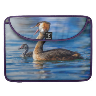 Crested grebe, podiceps cristatus, duck and baby sleeve for MacBook pro