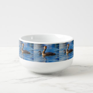 Crested grebe, podiceps cristatus, duck and baby soup mug
