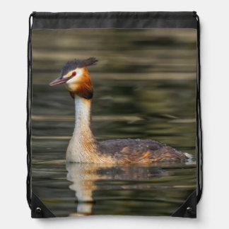 Crested grebe, podiceps cristatus, duck drawstring bag