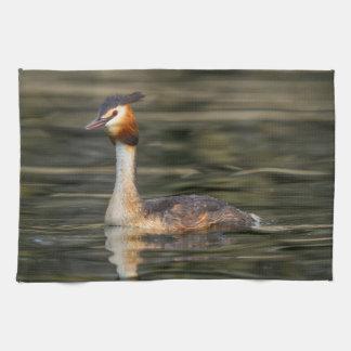 Crested grebe, podiceps cristatus, duck kitchen towel