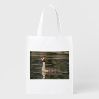 Crested grebe, podiceps cristatus, duck reusable grocery bag