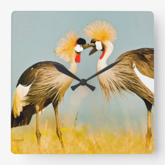 Crested Herons Square Wall Clock