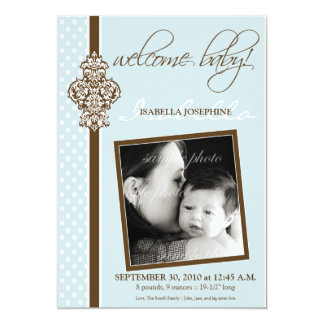 "Crested Ornate 5x7"" Birth Announcement (blue)"