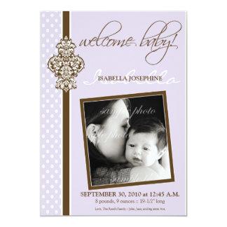 "Crested Ornate 5x7"" Birth Announcement (lavender)"