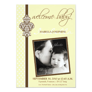 "Crested Ornate 5x7"" Birth Announcement (yellow)"