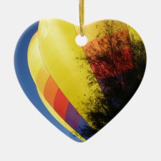 Crested Yellow Ceramic Heart Ornament