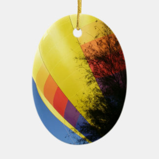 Crested Yellow Ceramic Oval Ornament