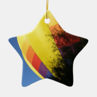 Crested Yellow Ceramic Star Ornament