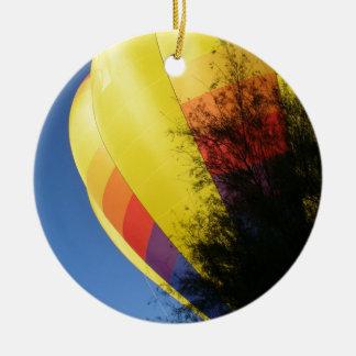 Crested Yellow Round Ceramic Ornament