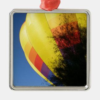 Crested Yellow Silver-Colored Square Ornament