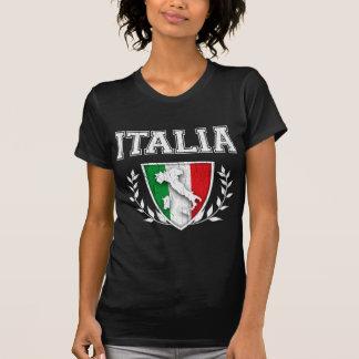 Crête vintage de drapeau de l'ITALIE Tee-shirt