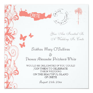 Crete Wedding Invitation In Coral Pink And White